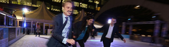 Broadgate London Ice Rink hold 'Tache on Ice' in aid of Movember